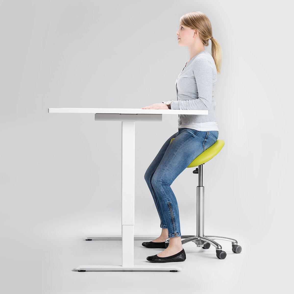 Vario-sähköpöytä ergonomia satulatuolin kanssa