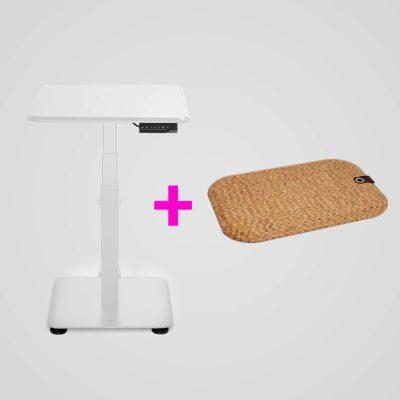 Tuotepaketti GetUpDesk Single valkoinen -säädettävä työpöytä ja StandUp Cork -seisontamatto