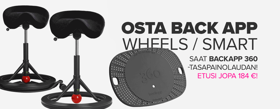 Osta Backapp Smart/Wheels – saat BackApp 360 -tasapainolaudan! Edun arvo 184€.