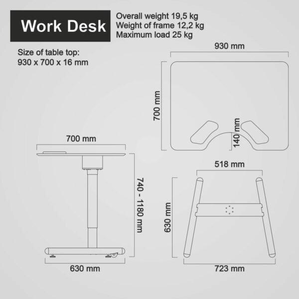Salli Work Desk -mitat